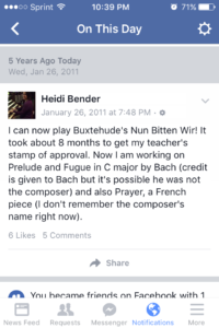 Facbook Memory of Nun Bitten Wir